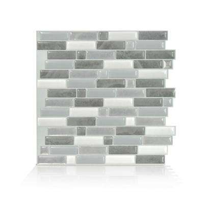 Crescendo Agati 9.73 in. W x 9.36 in. H Gray Peel and Stick Self-Adhesive Decorative Mosaic Wall Tile Backsplash
