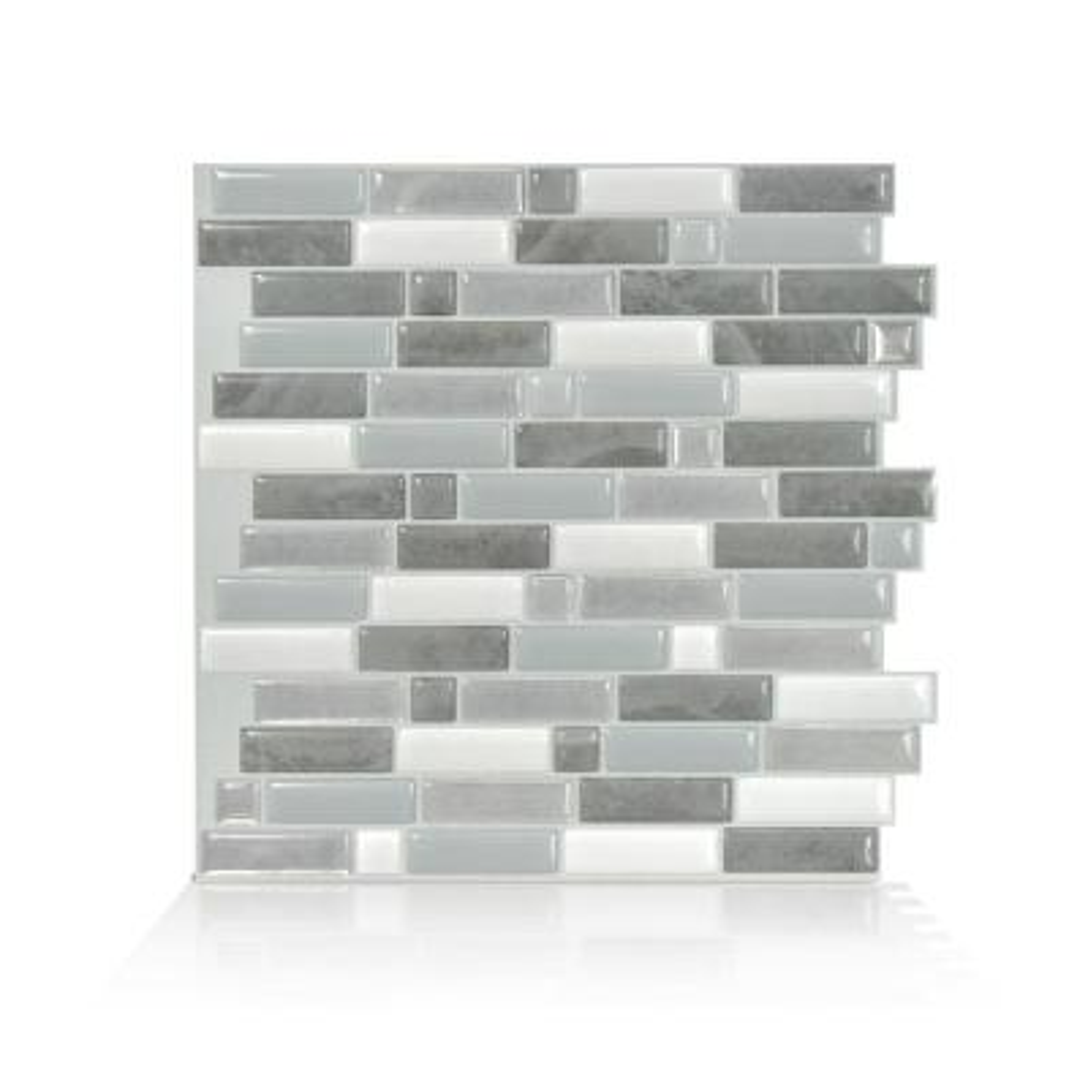 Crescendo Agati 9.73 in. W x 9.36 in. H Gray Peel and Stick Self-Adhesive Decorative Mosaic Wall Tile Backsplash