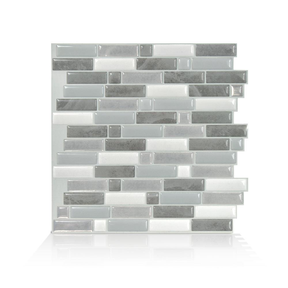 Crescendo Agati 9.73 in. W x 9.36 in. H Gray Peel and Stick Decorative Mosaic Wall Tile Backsplash (4-Pack)