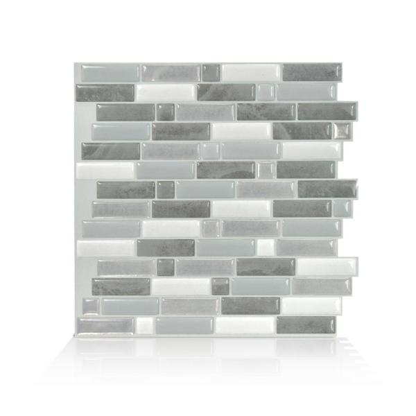 Crescendo Agati 9.73 in. W x 9.36 in. H Gray Peel and Stick Decorative Mosaic Wall Tile Backsplash (4-Pack)
