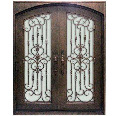 74 in. x 96 in. 1 Lite Finished Steel Double Wrought Iron Prehung Front Door with Segmented Panels