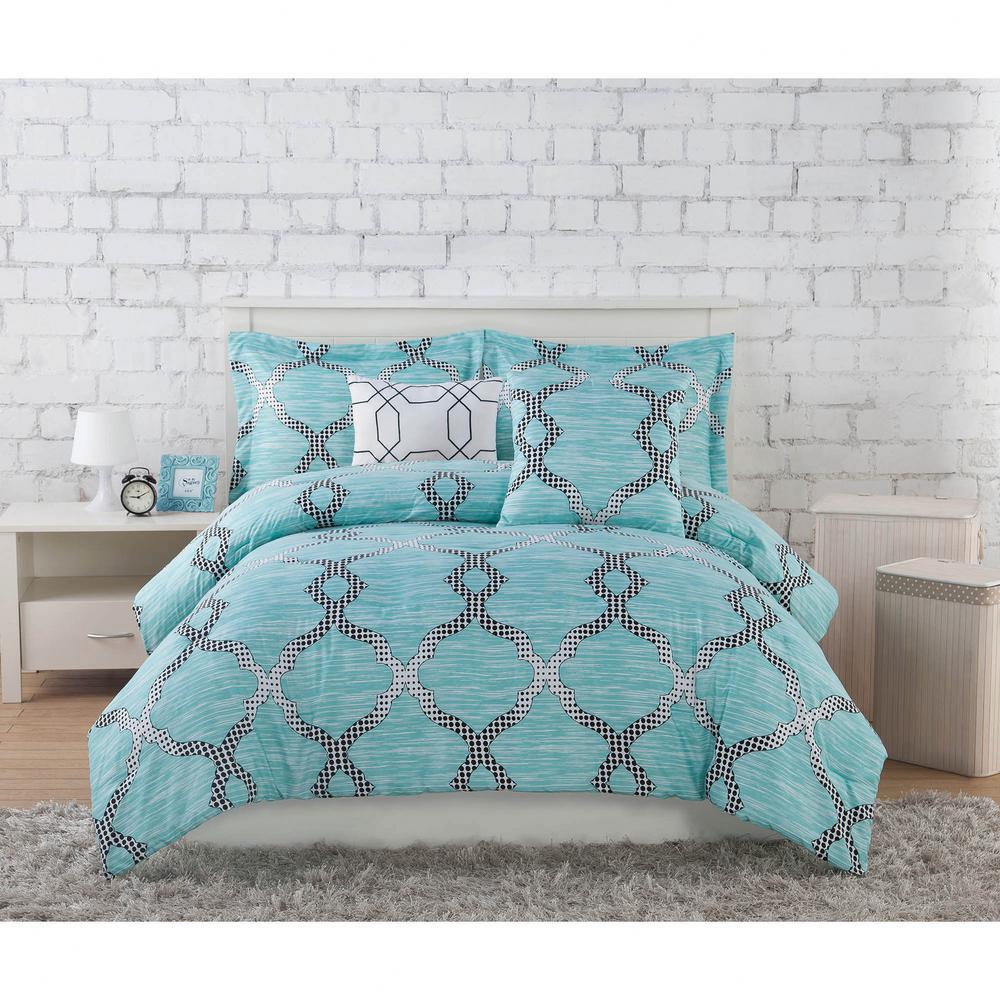 Project Generation Damaris Teal 5 Piece Fullqueen Comforter Set