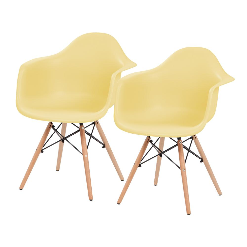 Yellow Plastic Shell Chair with Arm Rest (Set of 2)
