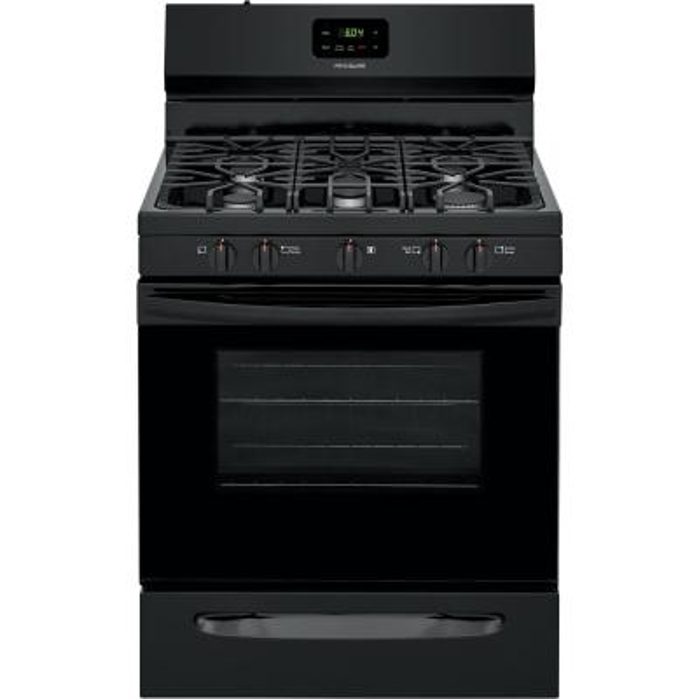 30 in. 5.0 cu. ft. 5-Burner Gas Range with Manual Clean in Black