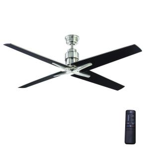 Virginia Highland 56 in. Indoor Brushed Nickel Ceiling Fan with Remote Control