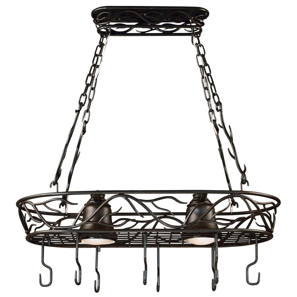 HunterKenroy Home Twigs 58 in. 2-Light Bronze Pot Rack