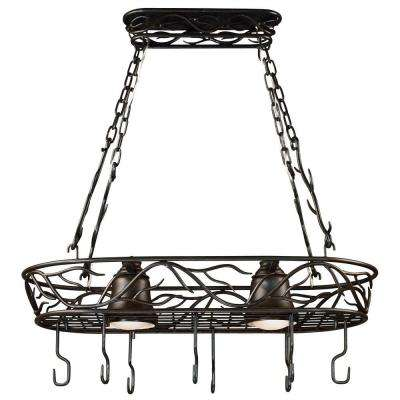 Twigs 58 in. 2-Light Bronze Pot Rack