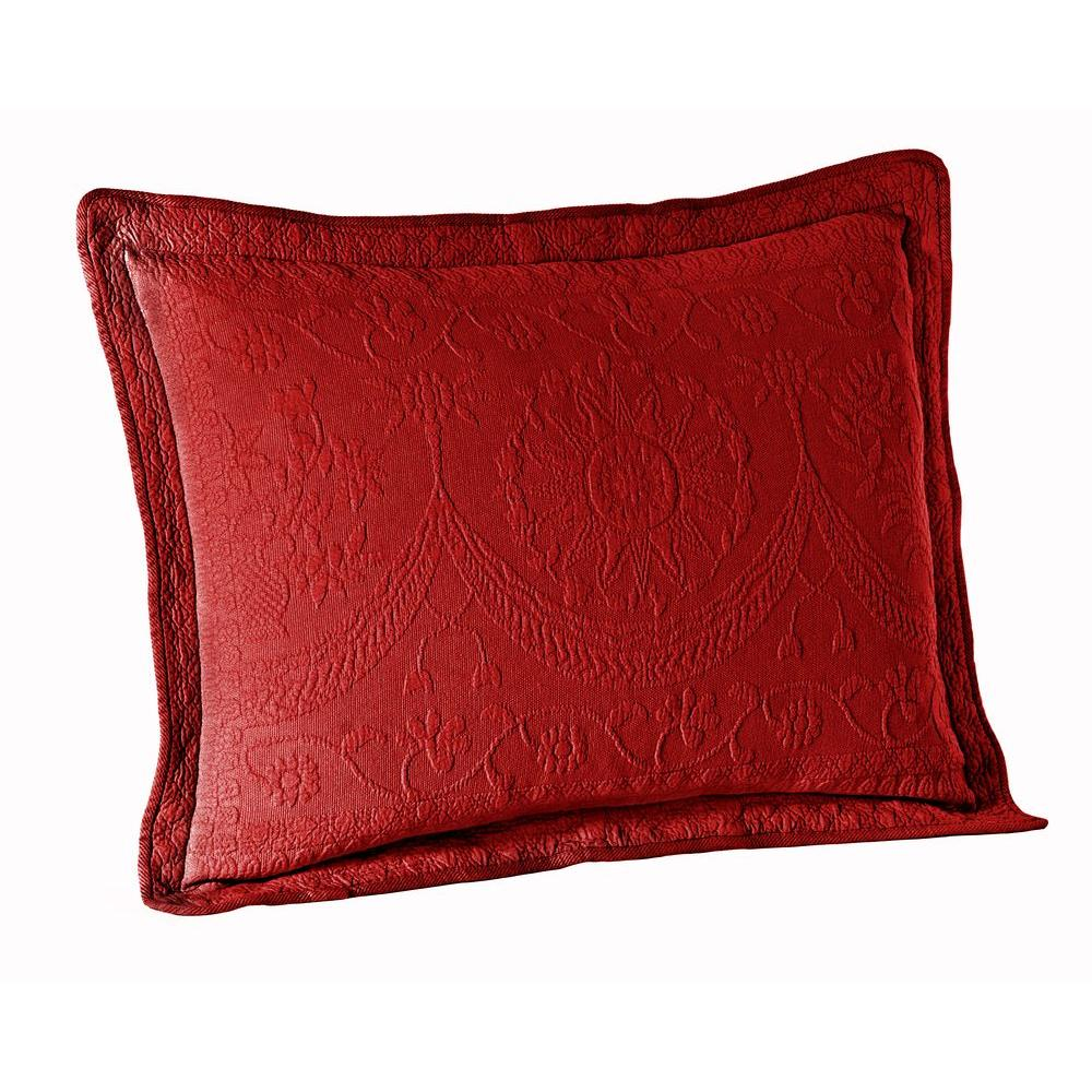 Historic Charleston Collection King Charles Scarlett Matelasse Cotton Standard Pillow Sham