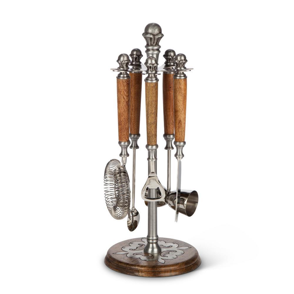 Wood and Metal Inlay Bartool Stand