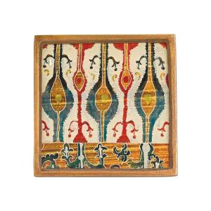 Click here to buy  4 inch 4-Piece Square Ikat Coaster Set.