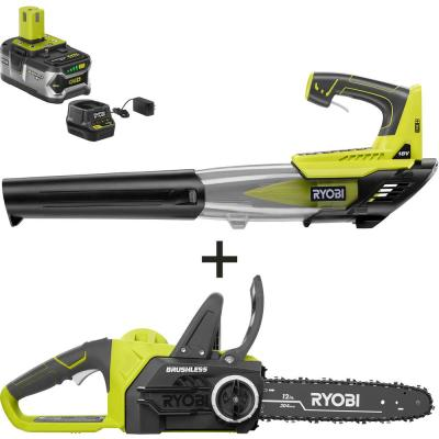 ONE+ 12 in. 18-Volt Brushless Lithium-Ion Electric Cordless Chainsaw and Leaf Blower 4.0 Ah Battery and Charger Included