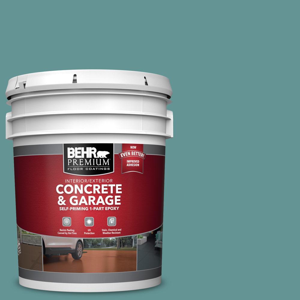 5 gal. #PFC-48 Aqua Marble Self-Priming 1-Part Epoxy Satin Interior/Exterior Concrete and Garage Floor Paint