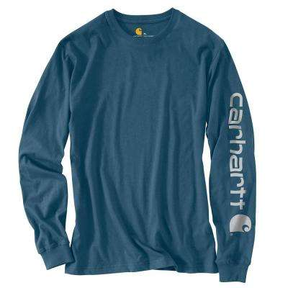 Men's Regular Large Stream Blue Cotton Long-Sleeve T-Shirt