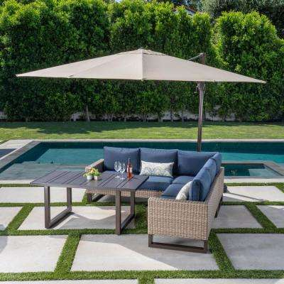 Park Heights Tan 4-Piece Wicker Outdoor Sectional with Navy Cushions