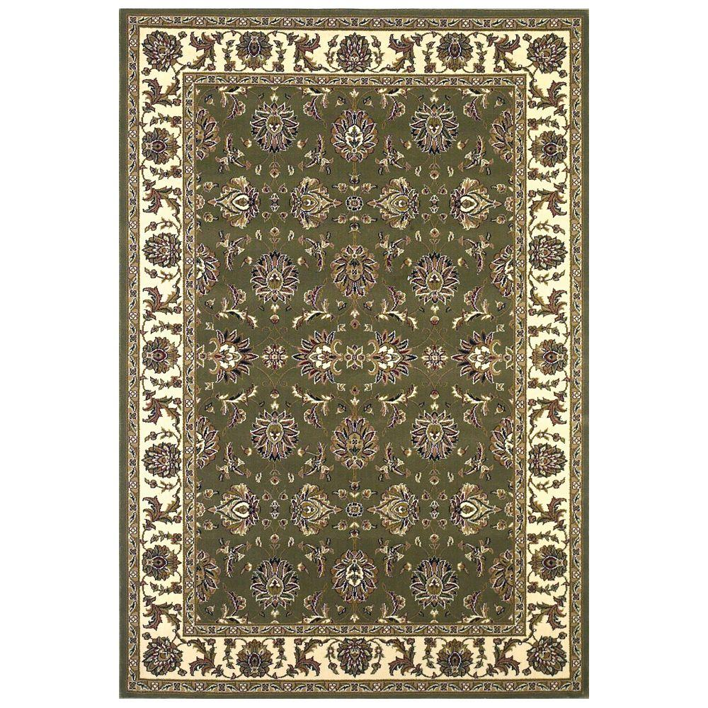 Kas Rugs Traditional Kashan Green/Ivory 7 ft. 7 in. x 10 ft. 10 in. Area Rug