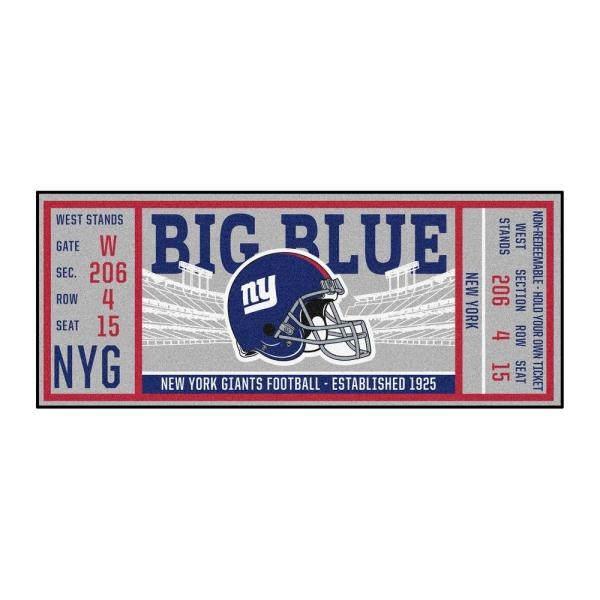 NFL - New York Giants 30 in. x 72 in. Indoor Ticket Runner Rug