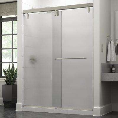 Portman 60 in. x 71-1/2 in. Semi-Frameless Mod Sliding Shower Door in Nickel with 3/8 in. (10mm) Rain Glass