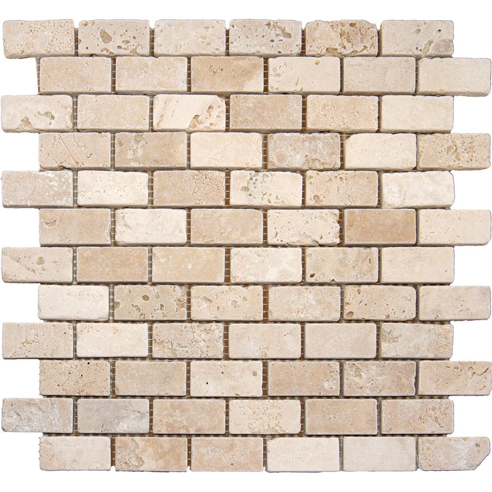 Msi Chiaro Brick 12 In X 10 Mm Tumbled Travertine Mesh