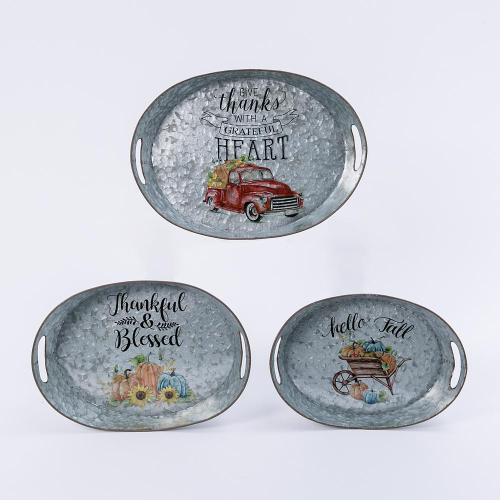 Gerson 3.5 in. Galvanized Metal Harvest Trays (Set of 3)