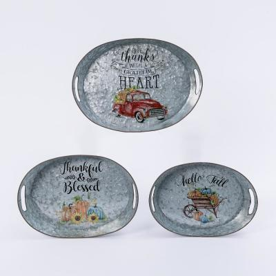 3.5 in. Galvanized Metal Harvest Trays (Set of 3)