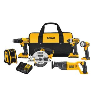 Dewalt 20-Volt MAX Lithium-Ion Cordless Combo Kit (6-Tool) with (2) Batteries 2Ah, Charger and Contractor Bag by DEWALT