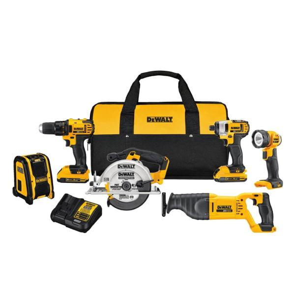 DEWALT 20-Volt MAX Lithium-Ion Cordless Combo Kit (6-Tool) with (2) Batteries 2Ah, Charger and Tool Bag
