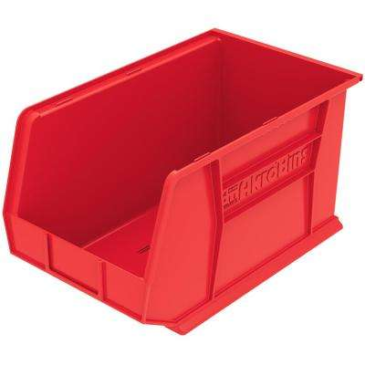 AkroBin 11 in. 60 lbs. Storage Tote Bin in Red with 5.5 Gal. Storage Capacity