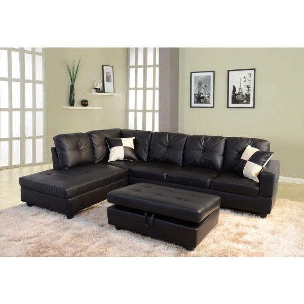 Black Faux Leather Left Chaise Sectional with Storage Ottoman