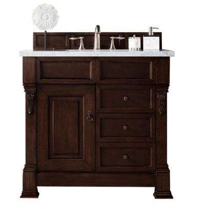 Brookfield 48 in. W Single Bath Vanity Burnished Mahogany with 3CM Carrara Marble Vanity Top with White Basin