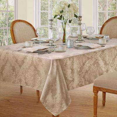 60 in. W x 120 in. L Beige Elrene Barcelona Damask Fabric Tablecloth
