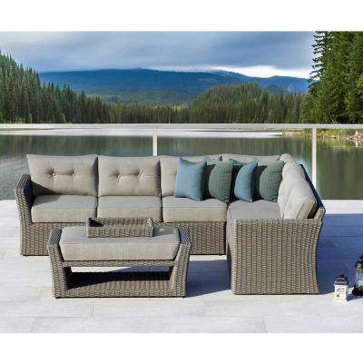 Isabella Gray 3-Piece Aluminum Outdoor Sectional Set with Blue and Green Cushions