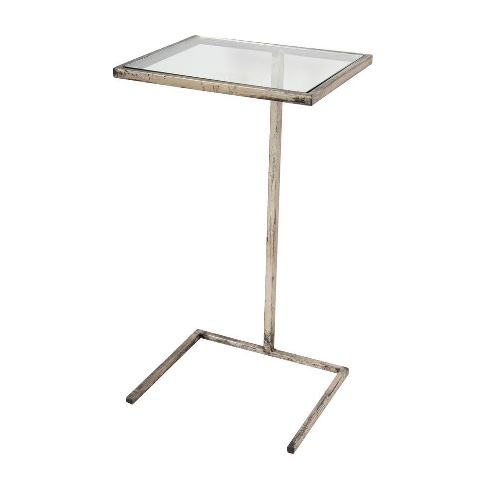 Classic Antique White Square Beverage Table