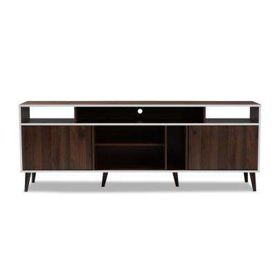 Marion Walnut Brown and White TV Stand