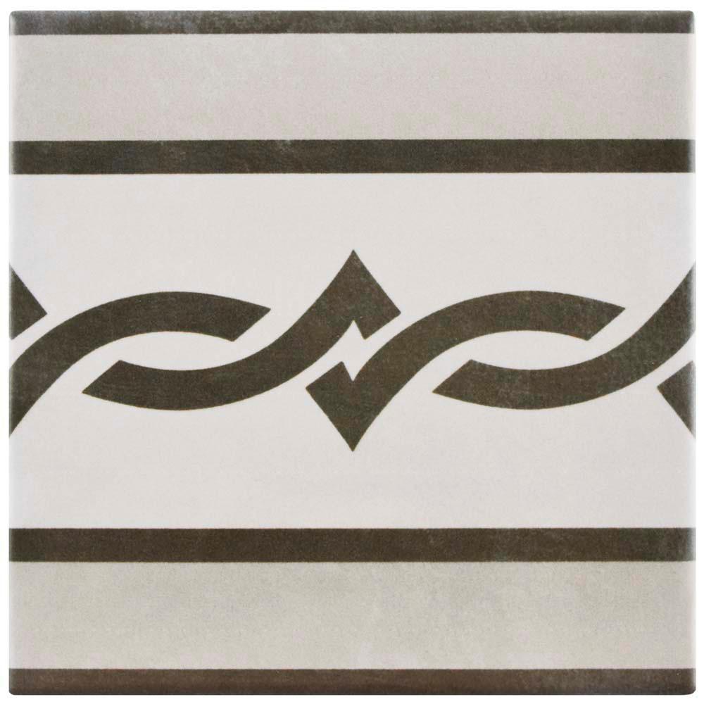 Atelier Gris Cenefa 5-7/8 in. x 5-7/8 in. Ceramic Floor and Wall Tile