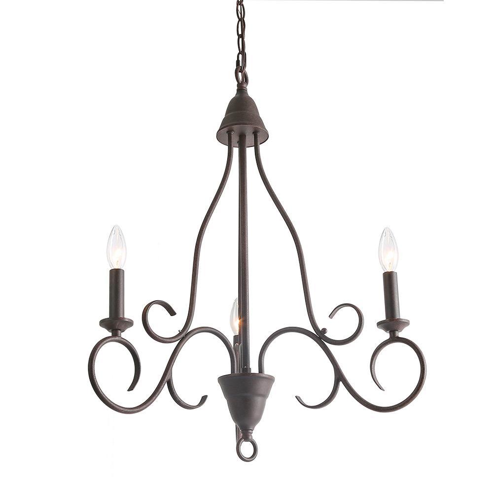 3-Light Bronze Transitional Candle Chandelier