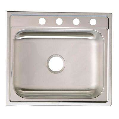 Signature Drop-in Stainless Steel 25 in. 4-Hole Single Bowl Kitchen Sink with 10.5 in. Bowl