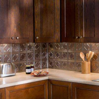 24 in. x 18 in. Traditional 4 PVC Decorative Backsplash Panel in Brushed Nickel