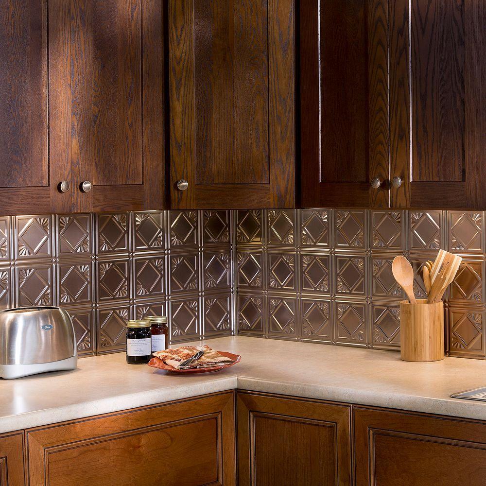 24 in. x 18 in. Traditional 4 PVC Decorative Backsplash Panel in Brushed Nickel