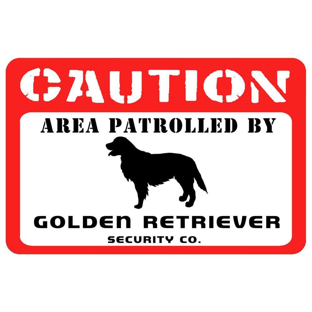 Printed Caution: Golden Retriever 17.5 in. x 26.5 in. Pet Mat