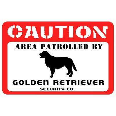 Printed Caution: Golden Retriever 17.5 in. x 26.5 in. Pet Mat