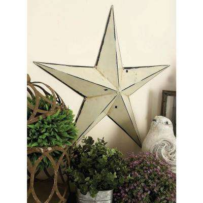 Ivory Iron Barn Star Wall Sculptures (Set of 3)