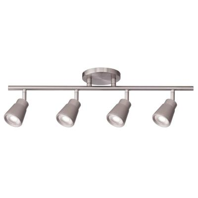 Solo 48 in. 4-Light Brushed Nickel LED ENERGY STAR Fixed Track Lighting Kit, 3000K
