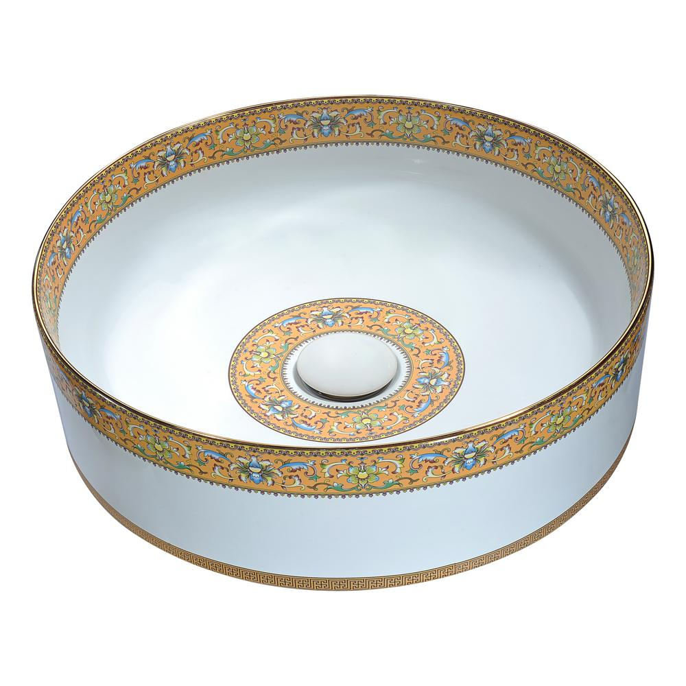 Byzantian Series Ceramic Vessel Sink in Mosaic Gold