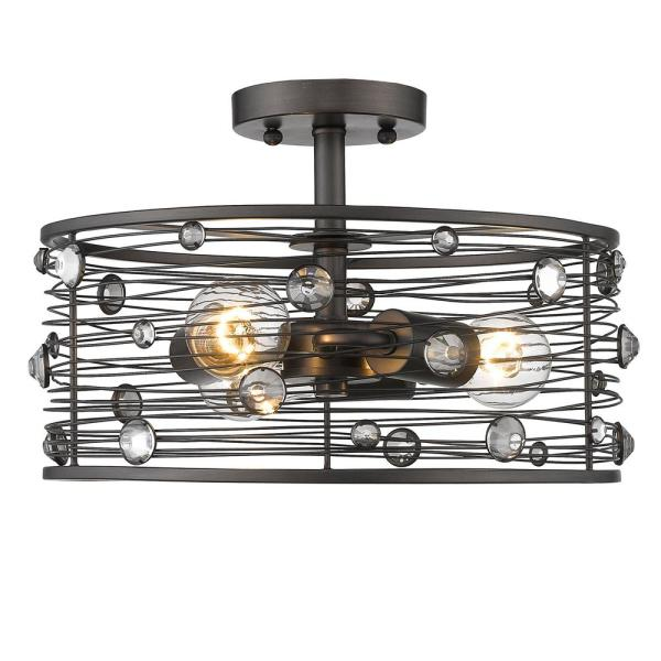 Bijoux 3-Light Brushed Etruscan Bronze Semi-Flush Mount