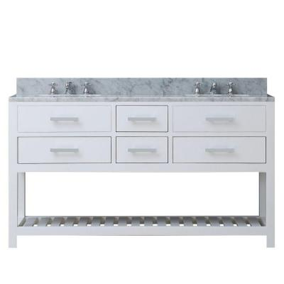 60 in. W x 21.5 in. D Vanity in White with Marble Vanity Top in Carrara White and Chrome Faucets