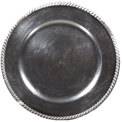 Home Essentials & Beyond 13 in. 4-Piece Rope Silver Plate Charger Set