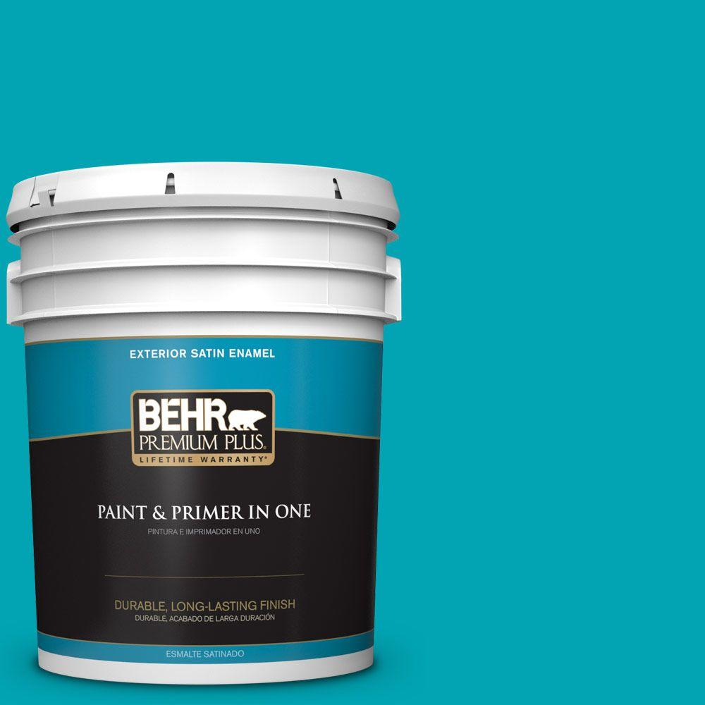 BEHR Premium Plus 5-gal. #510B-6 Blue Jewel Satin Enamel Exterior Paint