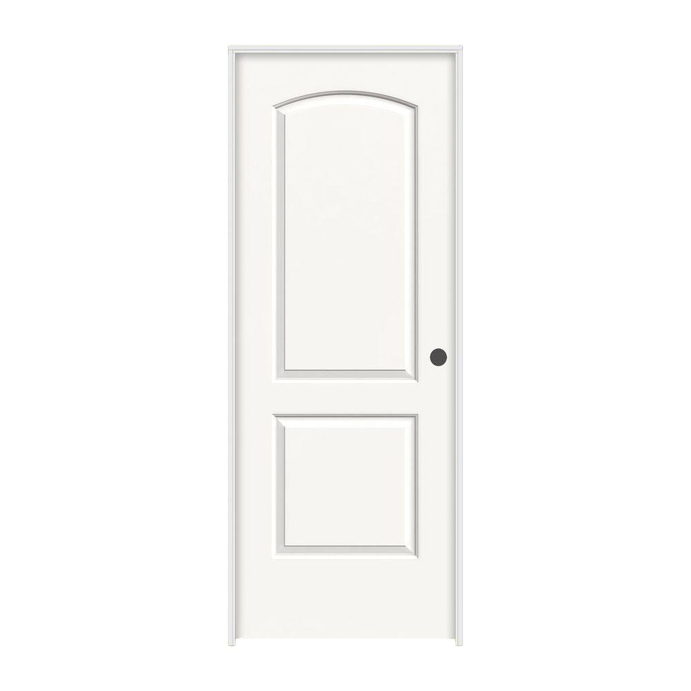 32 in. x 80 in. Continental White Painted Left-Hand Smooth Molded