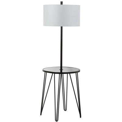 Ciro 58 in. Black Floor Lamp with Attached Side Table and White Shade
