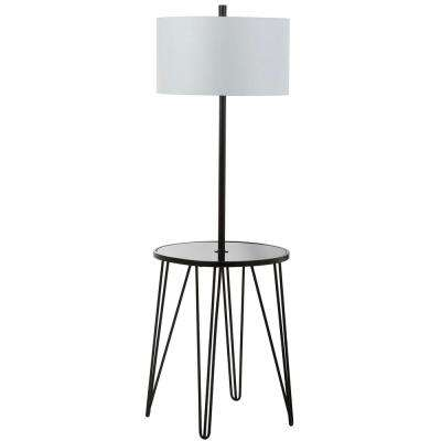 Ciro 58 in. Black Floor Lamp with Attached Side Table
